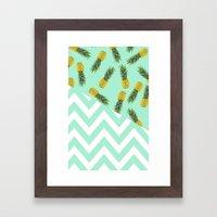 blue pineapple chevron Framed Art Print