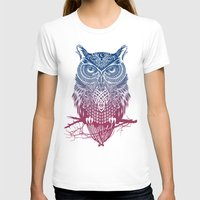 purple T-shirts featuring Evening Warrior Owl by Rachel Caldwell