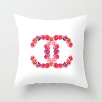 channel of roses Throw Pillow