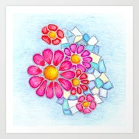 Raspberry Daisies and Icy Blue Crystals Art Print