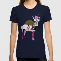 Deer Old Times Womens Fitted Tee Navy SMALL