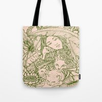 Tiny Claws - Green And P… Tote Bag