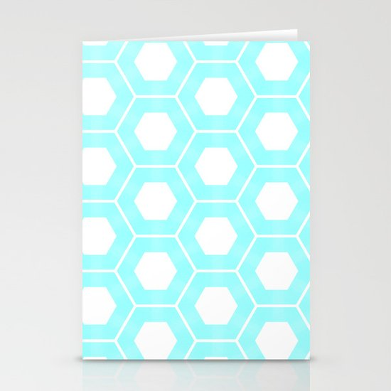 Nieuwland Powder Blue Hexagons Pattern Stationery Card