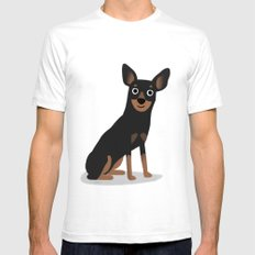 Min Pin - Cute Dog Series White SMALL Mens Fitted Tee