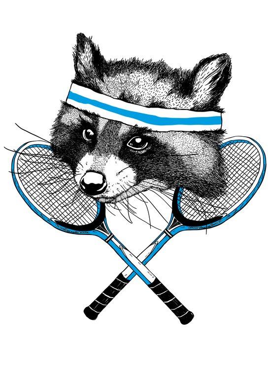 Little Raccoons Tennis Club Canvas Print