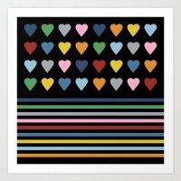 Heart Stripes Black Art Print