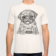 Persian Pug Mens Fitted Tee Natural SMALL