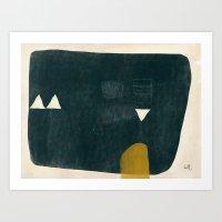Slate Mono Form with Mustard and Cream Art Print
