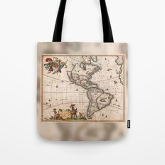 1658 Visscher Map of North America & South America (with 2015 enhancements) Tote Bag