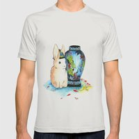 Lapin Chinoiserie Mens Fitted Tee Silver SMALL