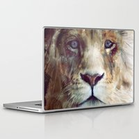 red Laptop & iPad Skins featuring Lion // Majesty by Amy Hamilton