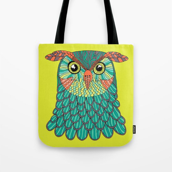 owl - Lime green Tote Bag