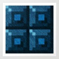 Blue Green Pixel Blocks Art Print