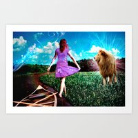 Rivers, Fields & Lions Art Print
