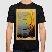 Abstract Seascape Mens Fitted Tee Tri-Black SMALL