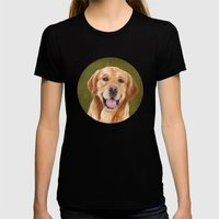 Golden Retriever Womens Fitted Tee Black SMALL