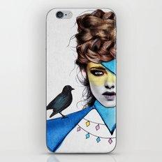 Blue Girl & Black Bird iPhone & iPod Skin