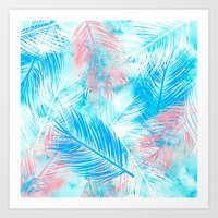 Bright pink blue watercolor palm tree leaf pattern Art Print