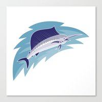Sailfish Jumping Retro S… Canvas Print