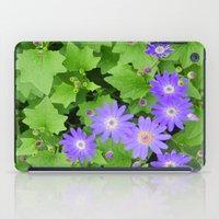 Purple flowers on leafy greens iPad Case
