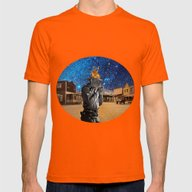 Western Mens Fitted Tee Orange SMALL