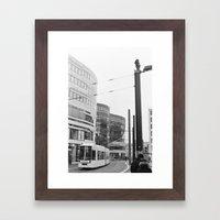 Trams Through Dusseldorf Framed Art Print