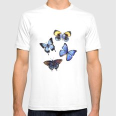Pattern with butterflies Mens Fitted Tee White SMALL