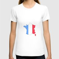 France  Womens Fitted Tee White SMALL