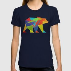 Fractal Geometric bear Womens Fitted Tee Navy LARGE