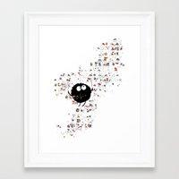 Blowing rainbow bubbles Framed Art Print