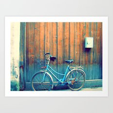 A Polka Dotted Bike Art Print