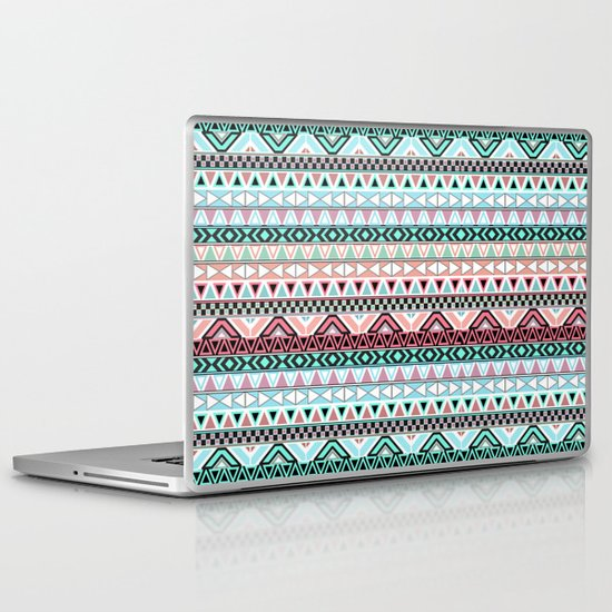 Pastel me   Andes Teal Pink Cute  Abstract Aztec Pattern Laptop & iPad Skin