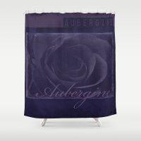 Aubergine -- Tone on Tone Purples -- Floral Rose Shower Curtain
