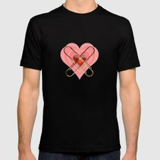 Clip Heart Valentine Black SMALL Mens Fitted Tee