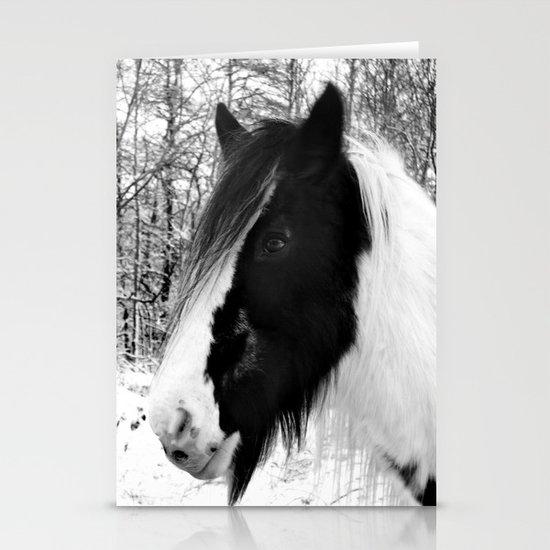 Horse. Black+White.Snow. Stationery Card