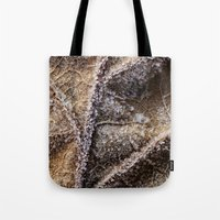 Frost Crystals On A Leaf Tote Bag