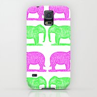 Galaxy S5 Cases featuring Pink and Green Elephants by anipani
