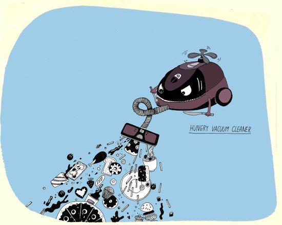 Hungry Vacuum Cleaner Art Print