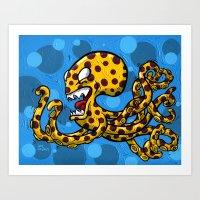 Cheetah Print Octopus  Art Print