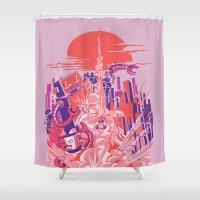 Smash! Zap!! Zooom!! - Big-Boobed Babe Shower Curtain