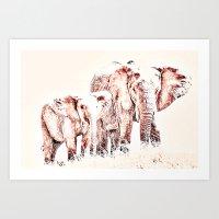 Animals Of The Rainbow Elephants Art Print
