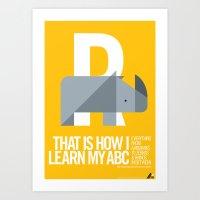 Animal Alphabet R Art Print