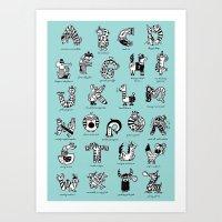 A To Z Animals Art Print