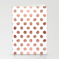 Stylish Rose Gold Polka … Stationery Cards