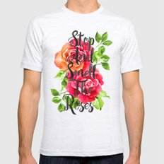 Stop and Smell the Roses Mens Fitted Tee Ash Grey SMALL