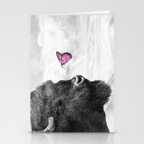 Bison and Butterfly Stationery Card