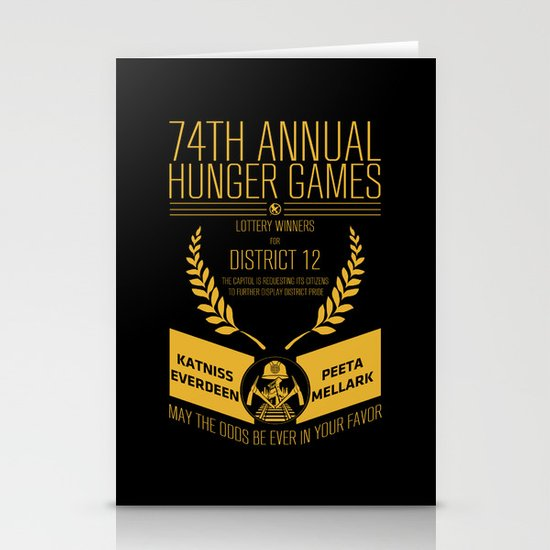 74th annual hunger games poster Stationery Card