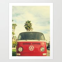 VW Coastin' Art Print
