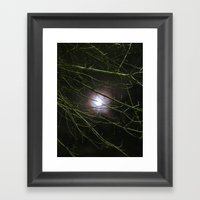 Autumn Moon Peeks Through The Branches Framed Art Print