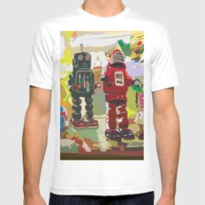 Robots White Mens Fitted Tee SMALL